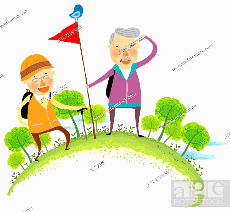 Stock Photo: Elderly couple on hill station.