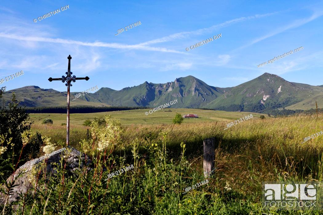 Stock Photo: Fontaine Salee reserve, Auvergne Volcanoes Natural Regional Park, massif of Sancy, Puy de Dome, Auvergne, France, Europe.