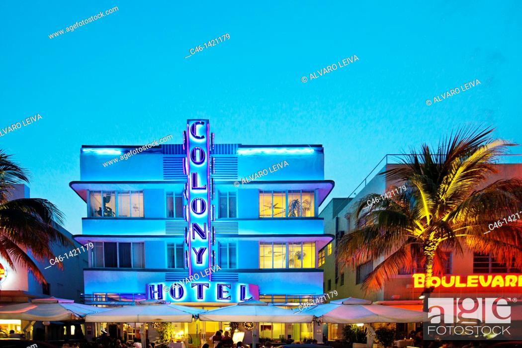 Stock Photo Colony Hotel Ocean Drive South Beach Art Deco District