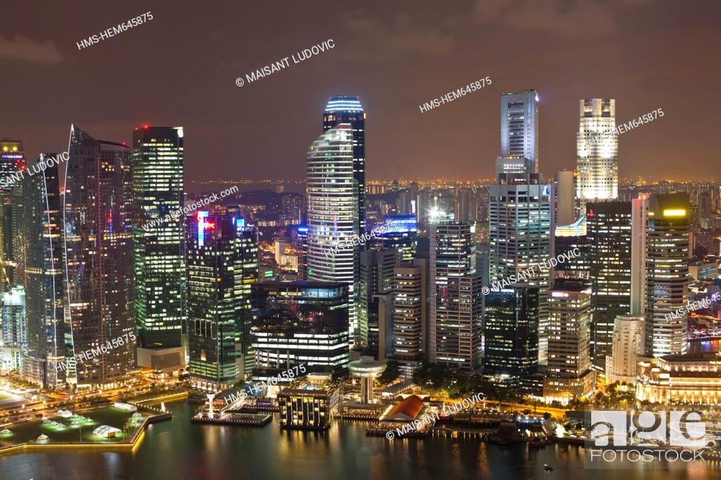 Stock Photo: Singapore, Marina Bay and Central Business District seen from the SkyPark at Marina Bay Sands Hotel, opened in 2010.