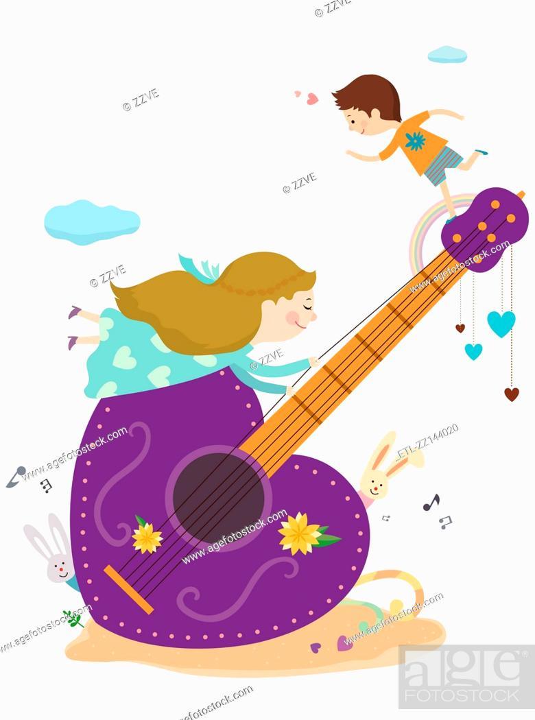 Stock Photo: guitars and children.