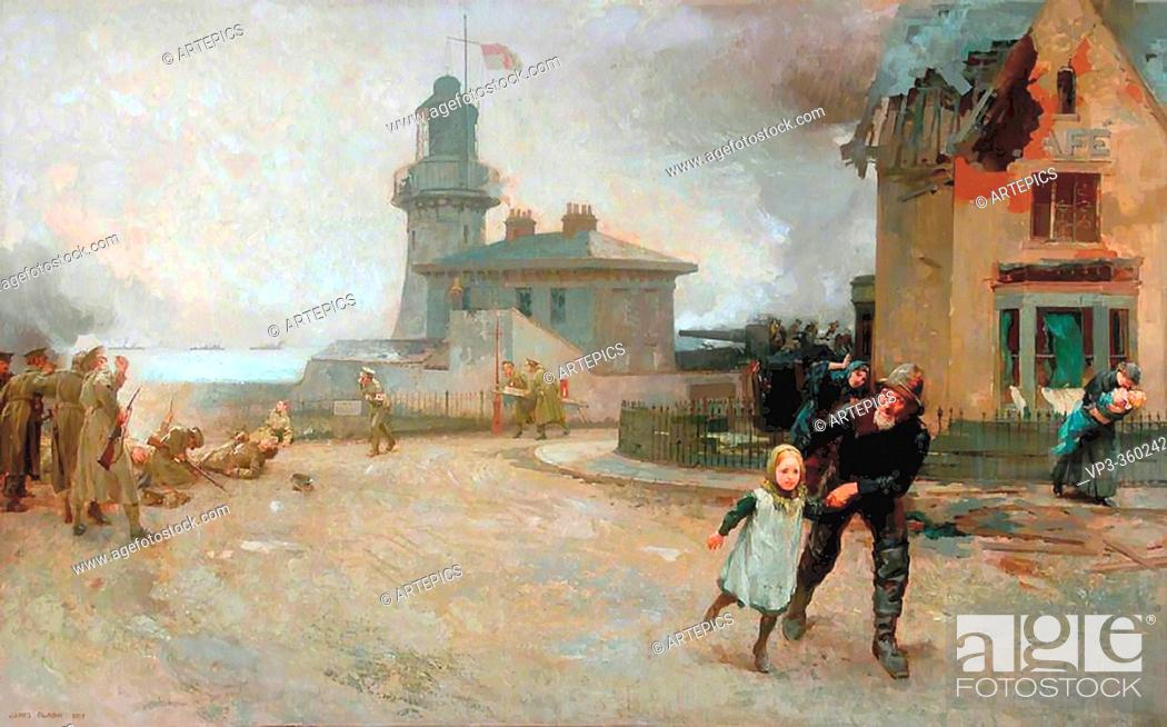 Imagen: Clark James - the Bombardment of the Hartlepools 16 December 1914 - British School - 19th Century.