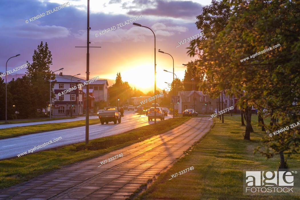 Stock Photo: Sunset in Akureyri city, Capital of North Iceland.