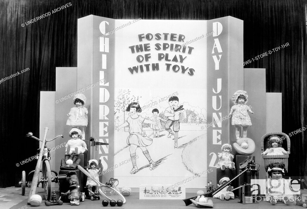 Stock Photo: Redding, California: June 2. 1925 A window display by George Hauber at the McCormick-Saeltzer department store encouraging parents on Childrens Day to Foster.