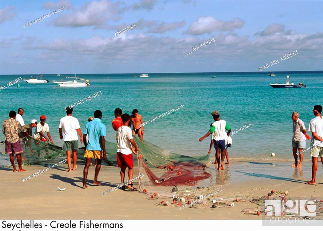 Stock Photo: Seychelles - Creole Fishermen.