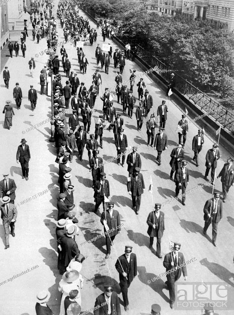 Stock Photo: New York, New York: 1916 Part of the huge parade of over 10, 000 striking streetcar men as they passed down Park Avenue on their to a mass meeting in Union.