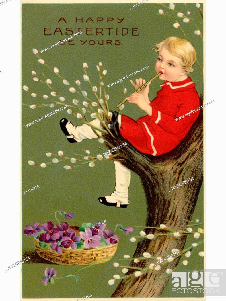 Stock Photo: A vintage Easter postcard of a basket of violets and a boy playing a flute in a pussy willow tree.
