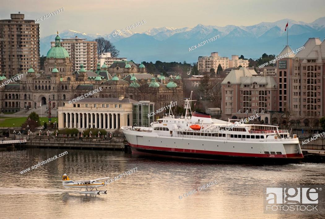 Stock Photo: Inner Harbour, BC Parliament Buildings, Hotel Grand Pacific, Floattplane , MV Coho, Victoria, British Columbia, Canada.