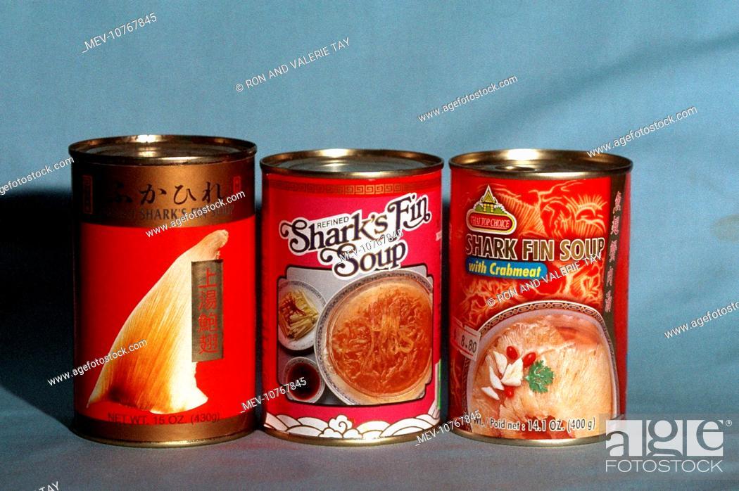 Stock Photo: Exploitation - Tin of shark fin soup sold in Sydney supermarket.