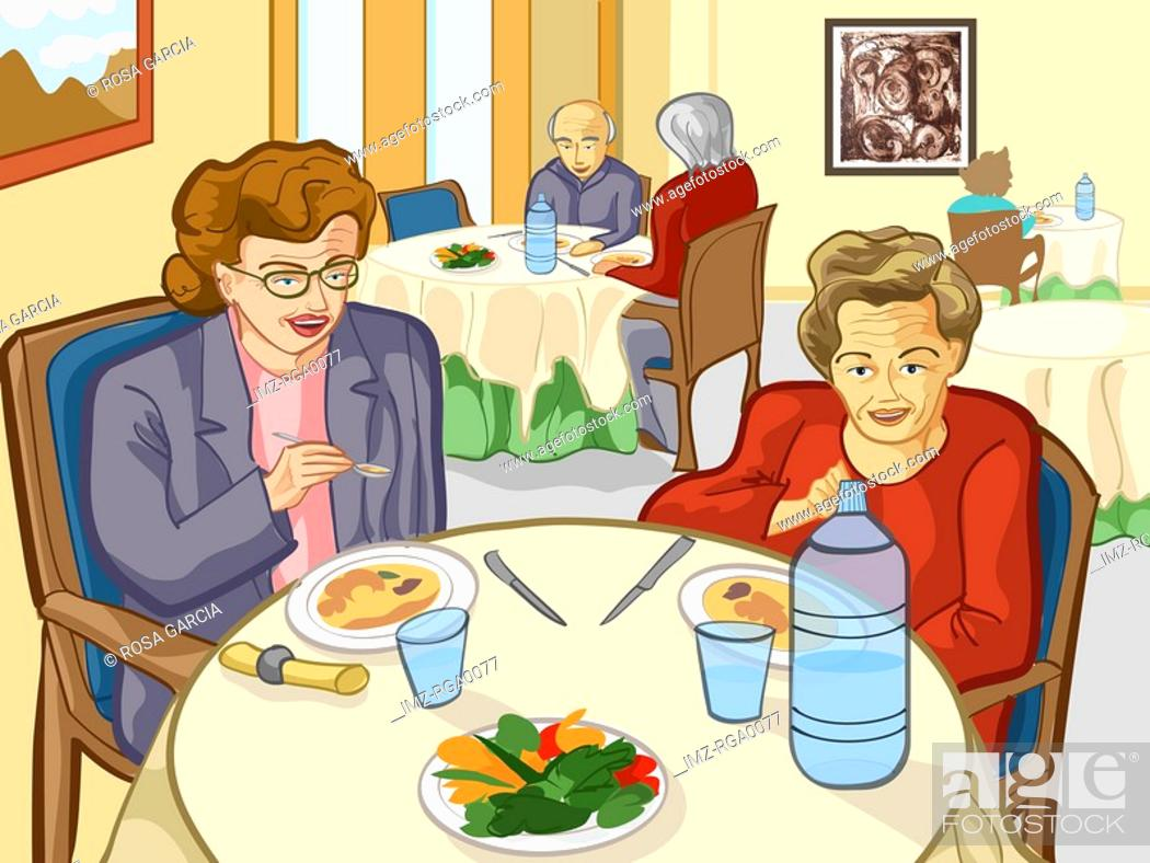 Stock Photo: Two elderly woman eating together in a common food hall.