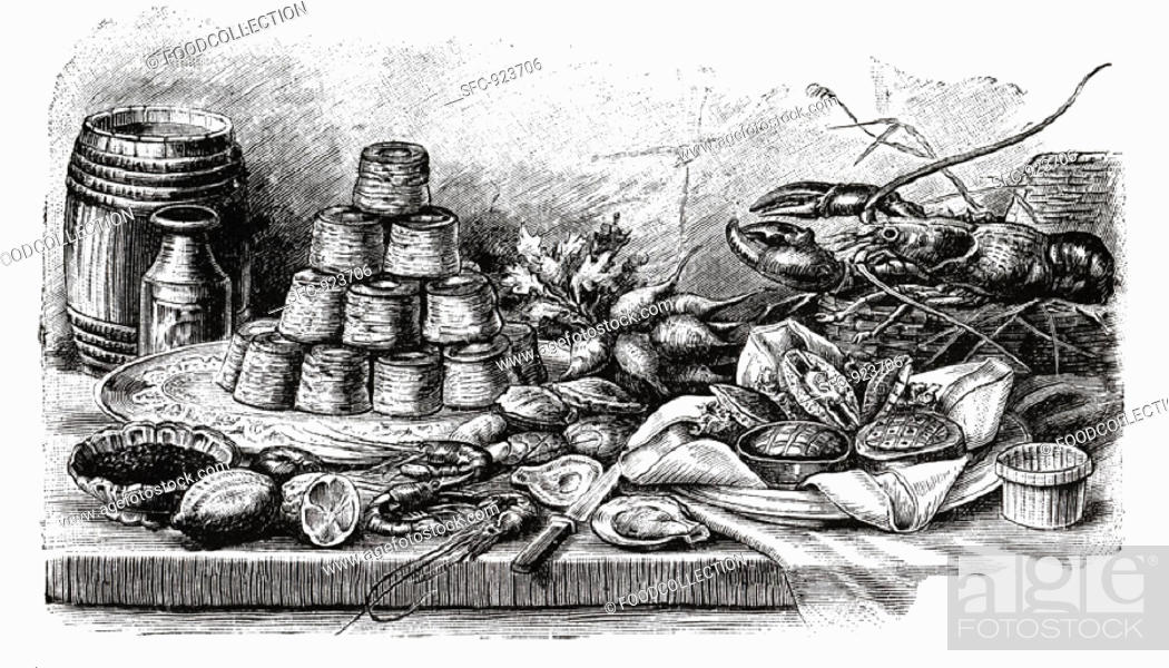 Stock Photo: Buffet with pies and seafood (illustration).