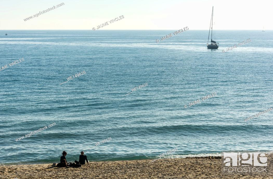 Stock Photo: A placid day of Autumn in Barcelona Coast.