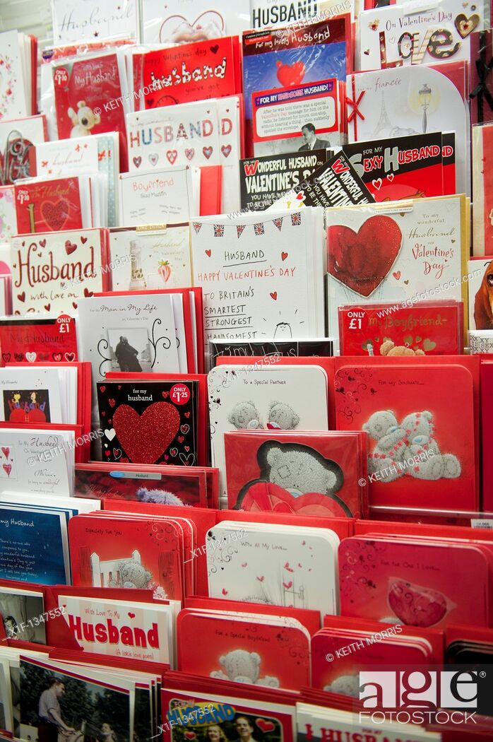 Stock Photo: Racks of valentine cards on sale at a branch of WH Smith, UK.