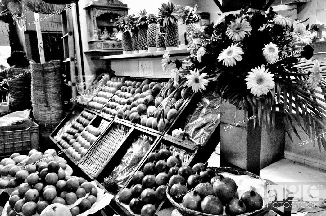 Stock Photo: Fruit shop, Crawford Market, Mahatma Jyotiba Phule Market, Mumbai, Maharashtra, India, Asia.