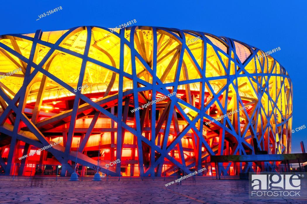 Imagen: Beijing, China - The view of Chinese National Stadium at night.