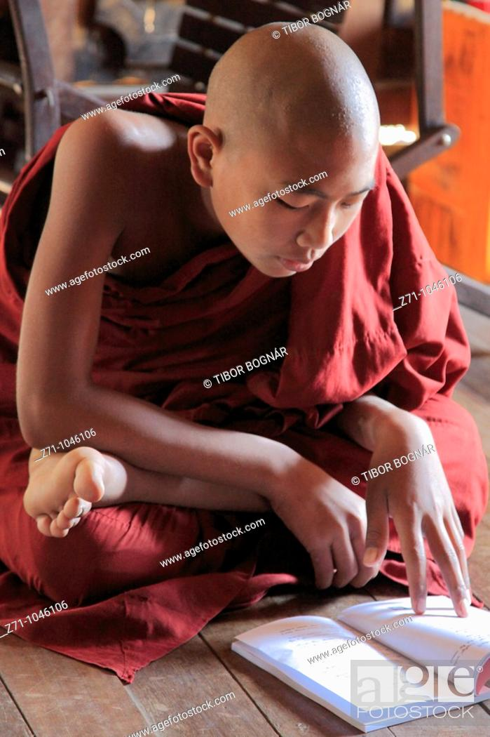 Stock Photo: Myanmar, Burma, Nyaungshwe, buddhist monks studying scriptures, Shwe Yaughwe Kyaung monastery,.
