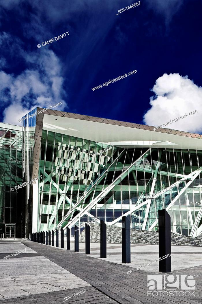 Stock Photo: Ireland, Dublin, The Grand Canal Dock, main entrance of the Grand Canal Theatre.