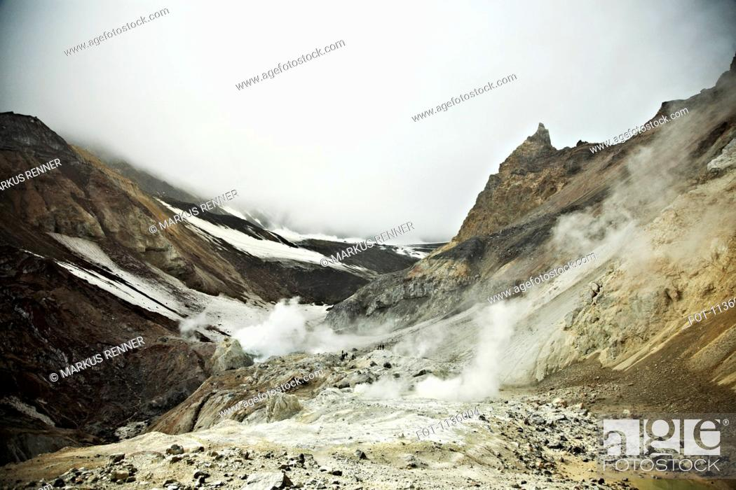 Stock Photo: Fumaroles on Mutnovsky Volcano, Kamchatka, Petropavlovsk Kamchatsky, Russia.