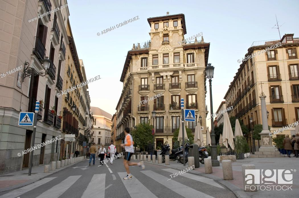 Stock Photo: View of a history building in Madrid, Spain.