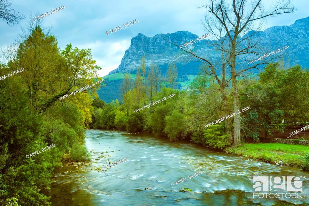 Stock Photo: Ason river and San Vicente peak. Ramales de la Victoria. Cantabria, Spain.