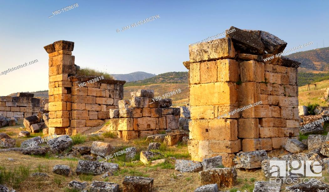 Stock Photo: Turkey - Hierapolis, ruins of the ancient city, the church with pillars 6th century AD, Unesco.