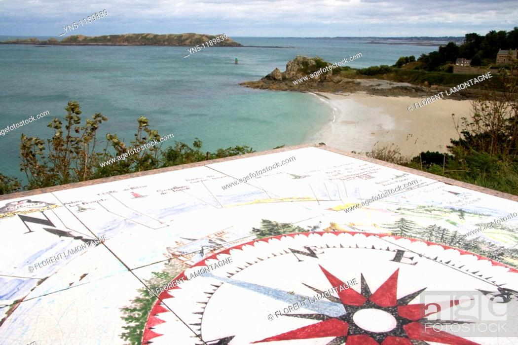 Stock Photo: France, Bretagne province, Departement of Cote d'Armor 22, Perros Guirec   Touristy spot, famous for the beach, the bay and the view  Here.