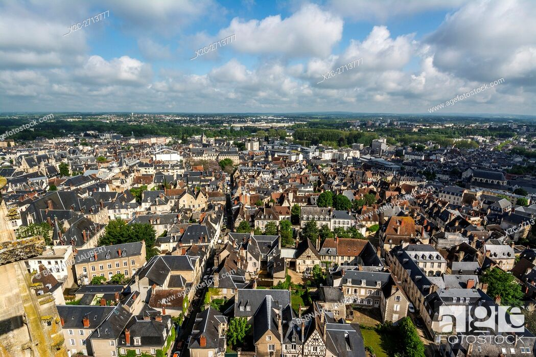 Stock Photo: Bourges. Looking across the rooftops of Bourges from the top of the cathedral, Cher, Berry, Centre-Val de Loire, France, Europe.
