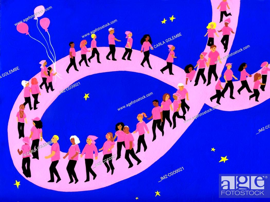 Stock Photo: A breast cancer walk along a pink ribbon.