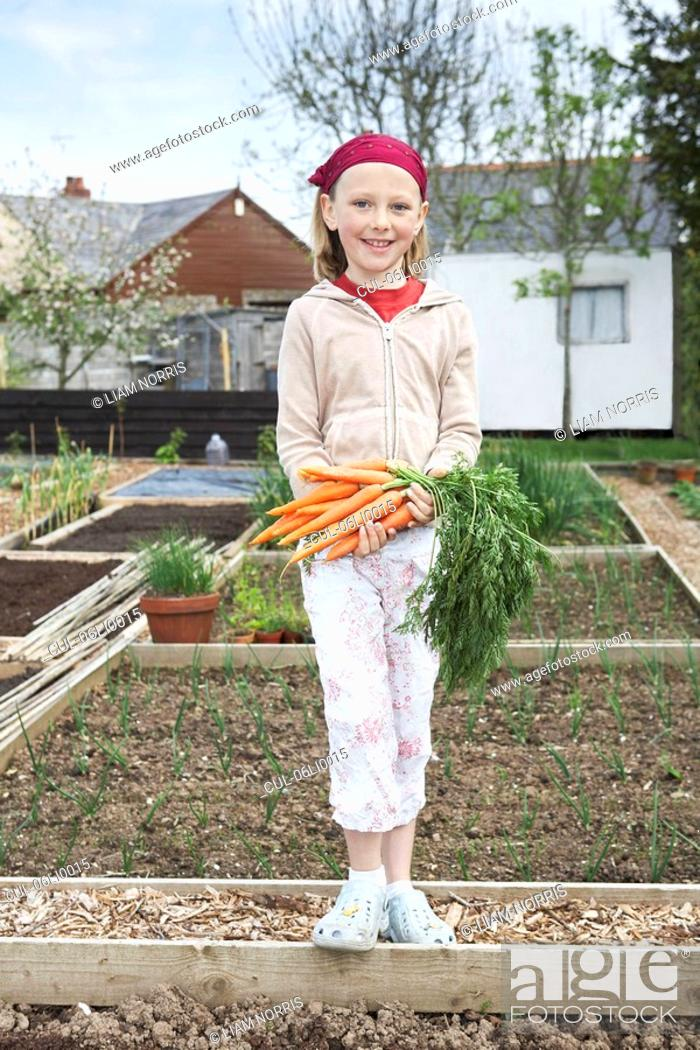 Stock Photo: Girl on allotment with carrots.