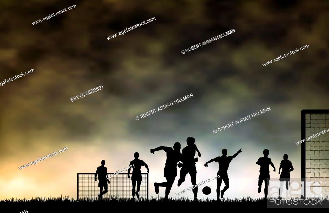 Vector: Editable vector illustration of men playing football with sky made using a gradient mesh.