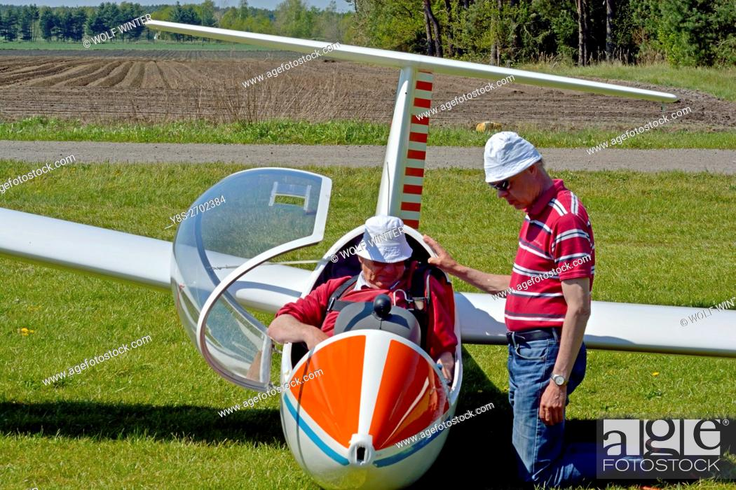 Stock Photo: At the airfield of the Gifhorn Gliding Club, Wilsche, Gifhorn, Germany.