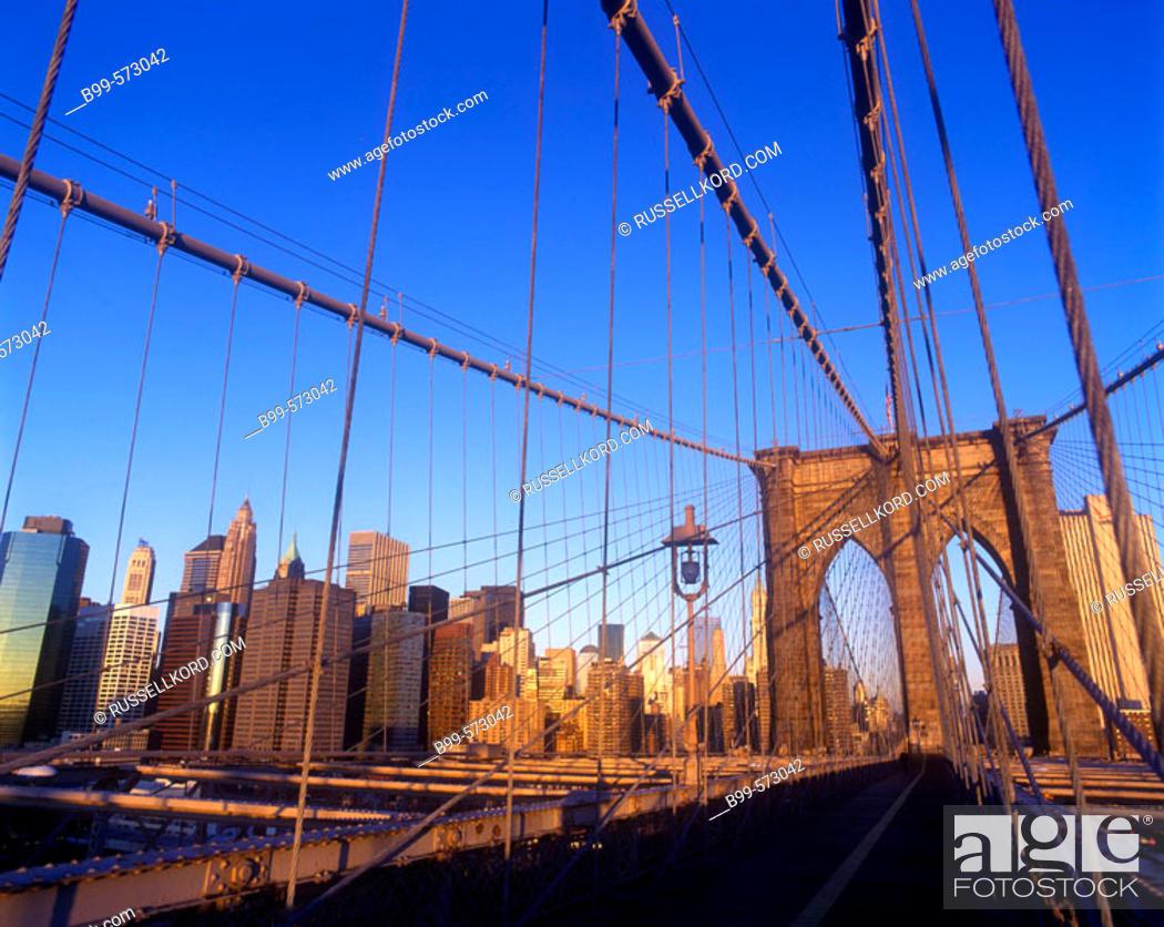 Stock Photo: Brooklyn Bridge, Downtown Skyline, Manhattan, New York, USA.