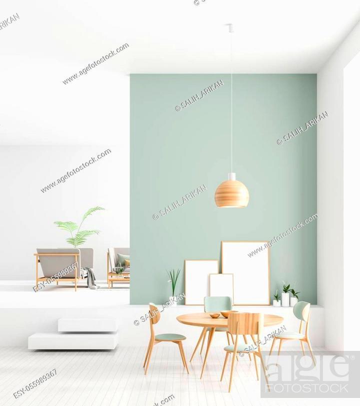 Stock Photo: Mock up poster frames in Scandinavian style dining room interior. Minimalist dining room design. 3D illustration.