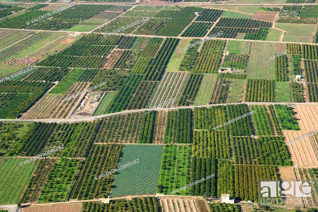 Stock Photo: Aerial view of irrigated region. Valencia province, Comunidad Valenciana, Spain.
