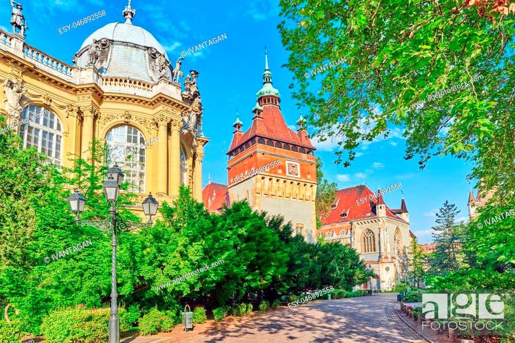 Stock Photo: Vajdahunyad Castle (Hungarian-Vajdahunyad vara) is a castle in the City Park of Budapest, Hungary.