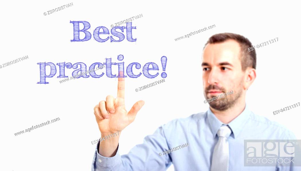 Imagen: Best practice Young businessman with small beard touching text - horizontal image.