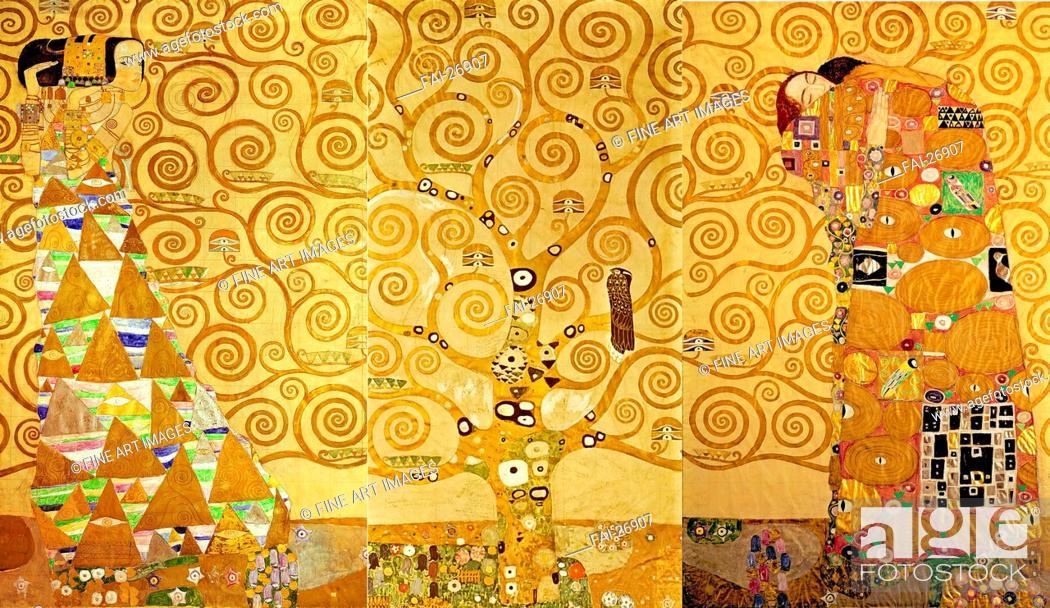 Stock Photo: The Stoclet Frieze, Detail: The Expectation, Tree of Life. Klimt, Gustav (1862-1918). Tempera on cardboard. Art Nouveau. 1905-1909. Austria.
