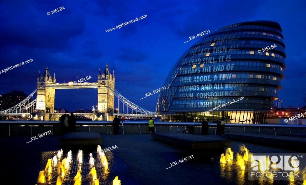 Stock Photo: Tower Bridge and City Hall over the Thames River at Night, London  United Kingdom.