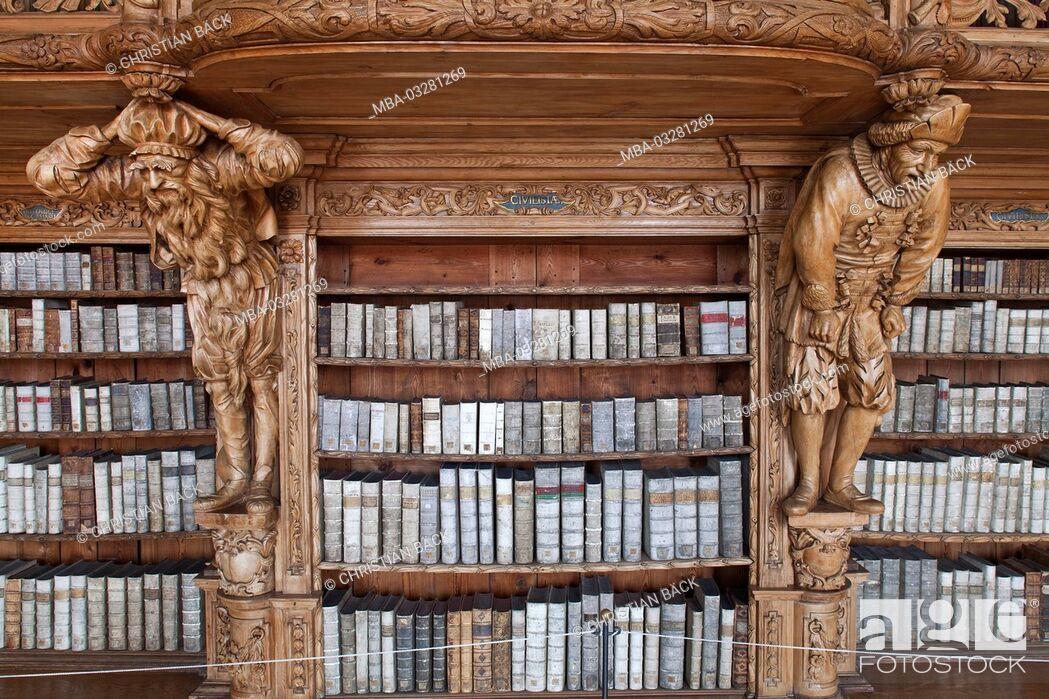 Stock Photo: Abbey library Waldsassen, Upper Palatinate, Bavarians, Germany,.