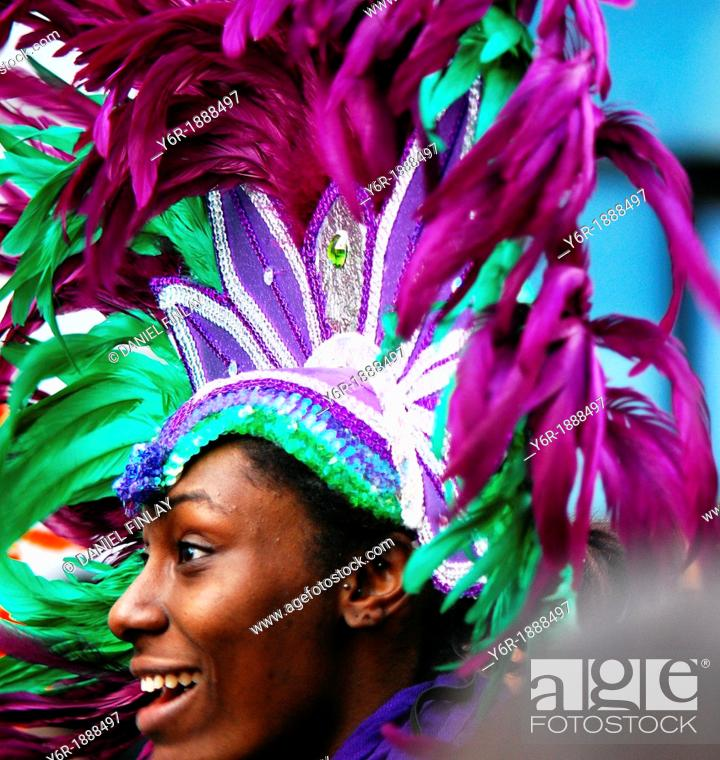 Stock Photo: Smiling participant in the London New Year's Day Parade despite the freezing weather in southern England.
