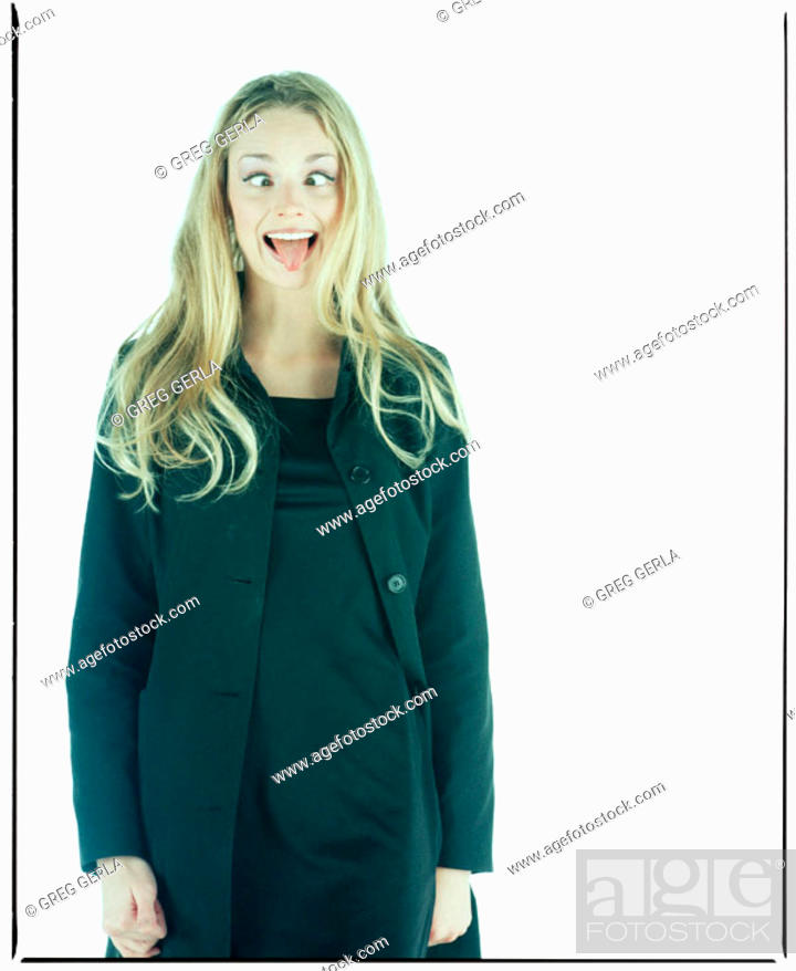 Stock Photo: Young Woman Making A Funny Face.