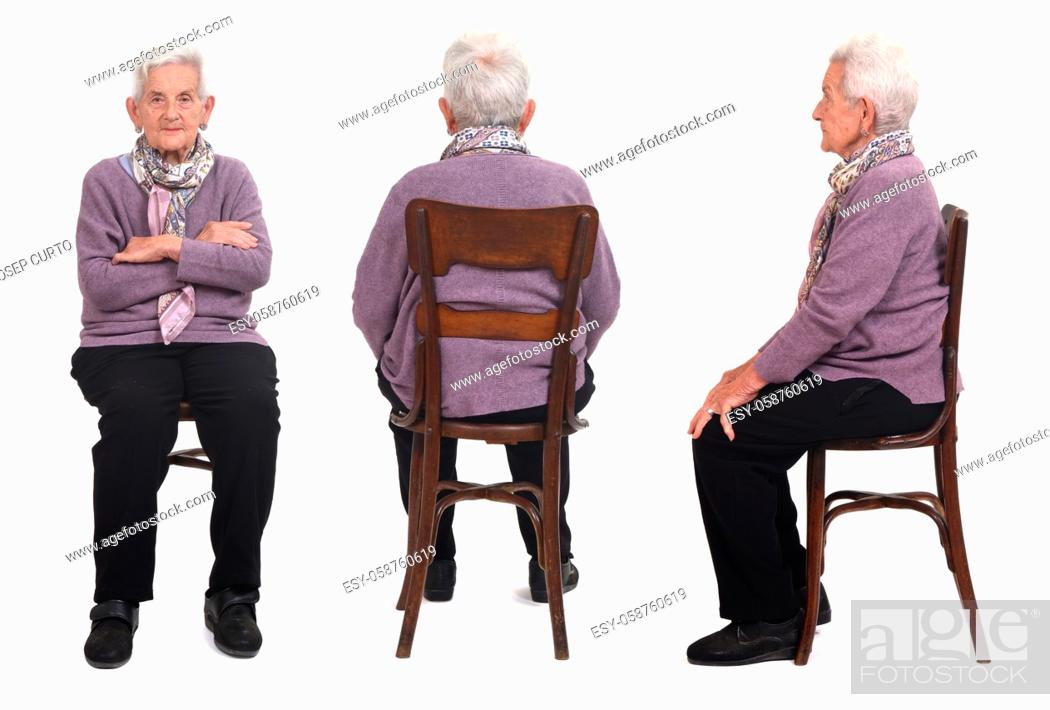 Photo de stock: same senior woman sitting on white background, front, back and side view.