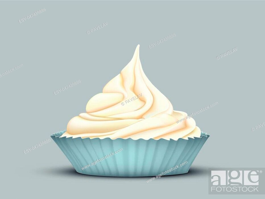 Stock Vector: delicate twisted cream in the mould turquoise on grey-blue background.