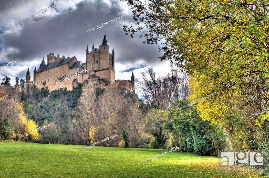 Stock Photo: Alcázar viewed from La Fuencisla,  Segovia, Castile-Leon, Spain.