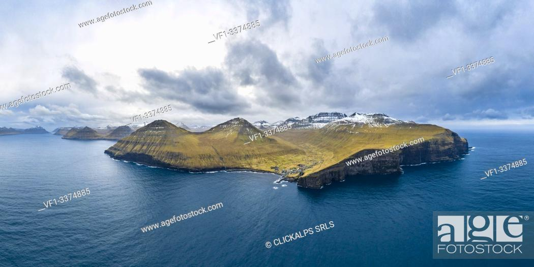 Stock Photo: Aerial panoramic view of Eysturoy island from the sea in front of Gjogv village (Faroe Islands, Denmark).