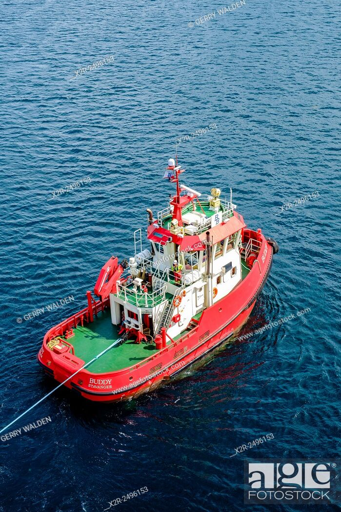 Stock Photo: Tugboat 'Buddy' working in Stavanger harbour, Norway.
