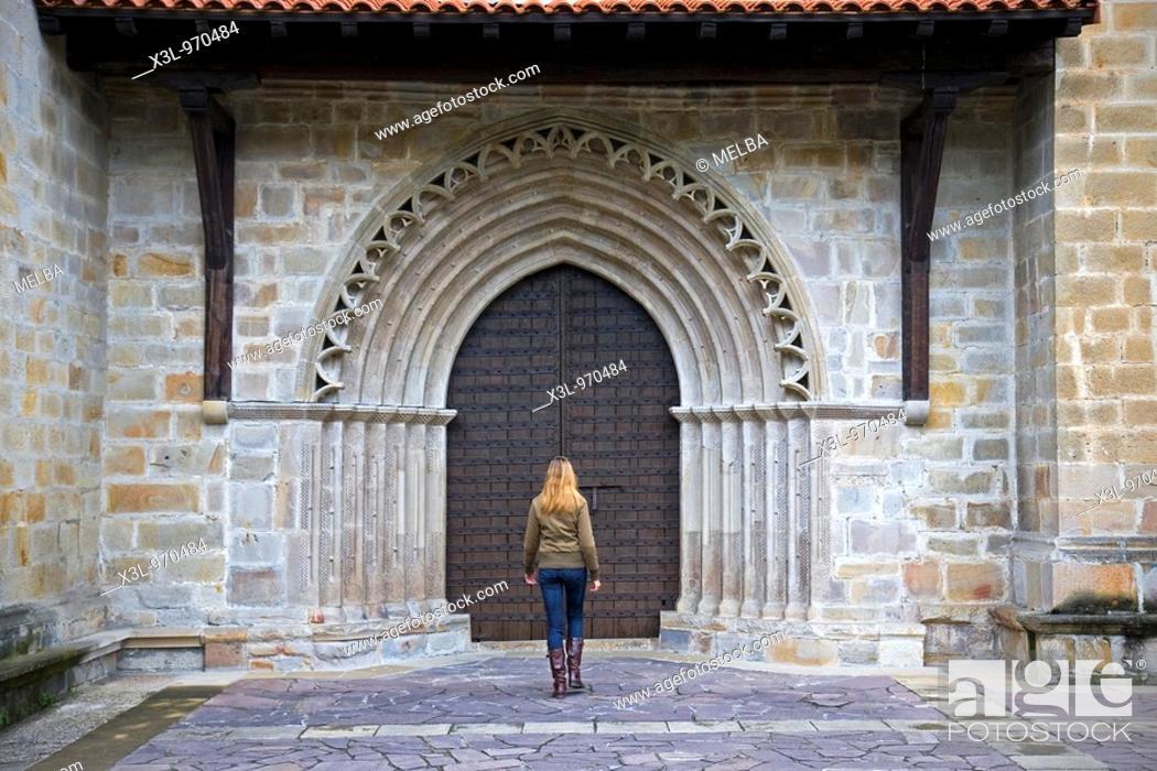 Stock Photo: Saint Miguel de Idiazabal church  Guipuzkoa  Euskadi  Spain.