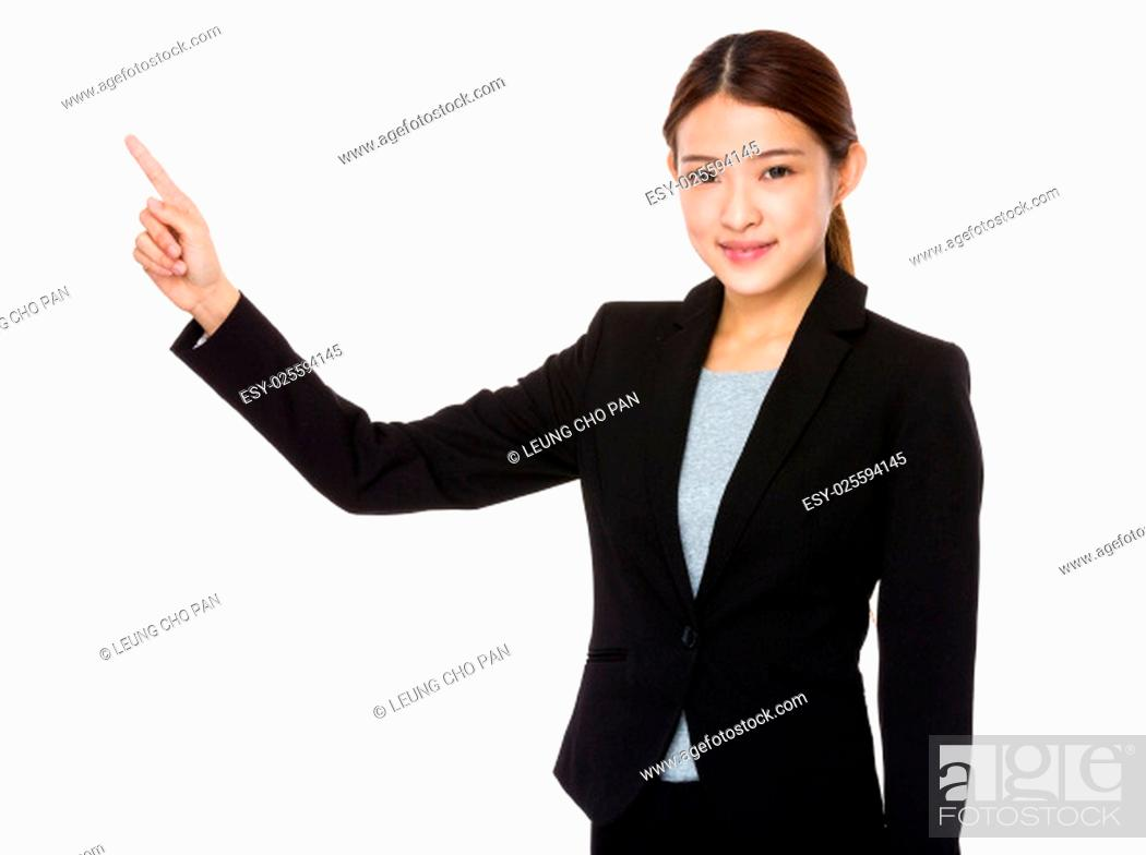 Stock Photo: Asian corporate officer with finger point out.