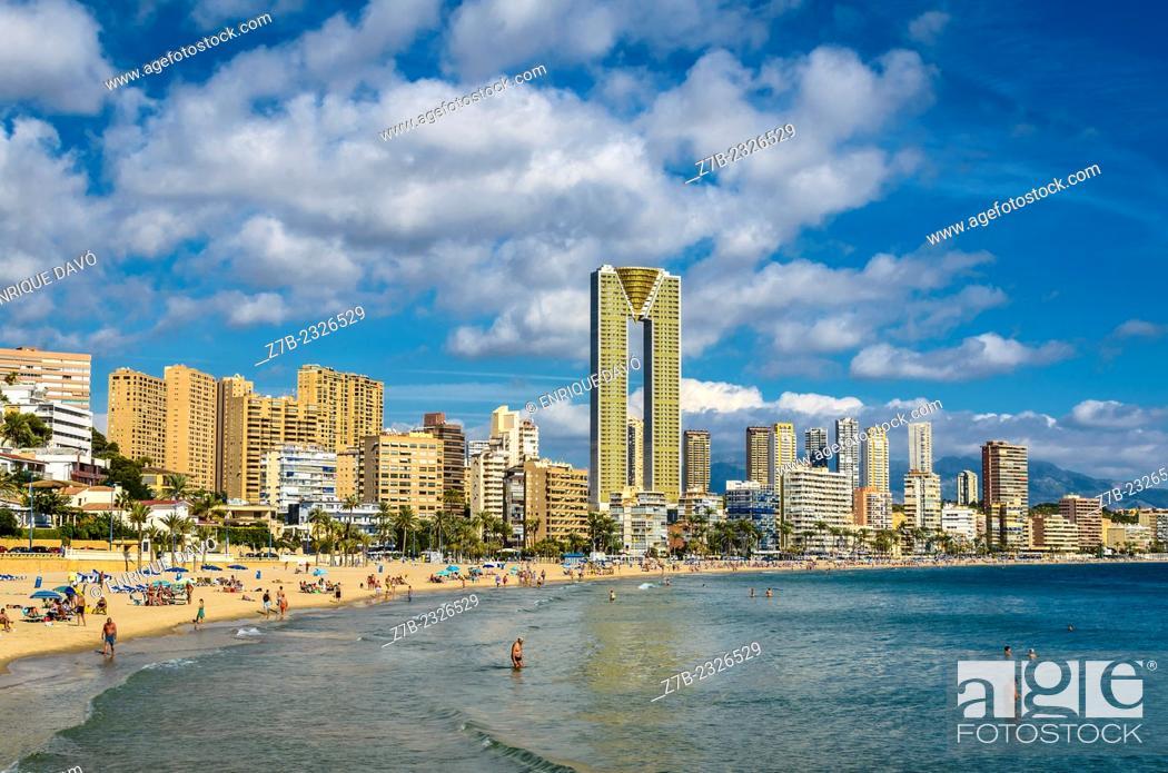 Stock Photo: A view of Benidorm beach in Alicante north, Spain.