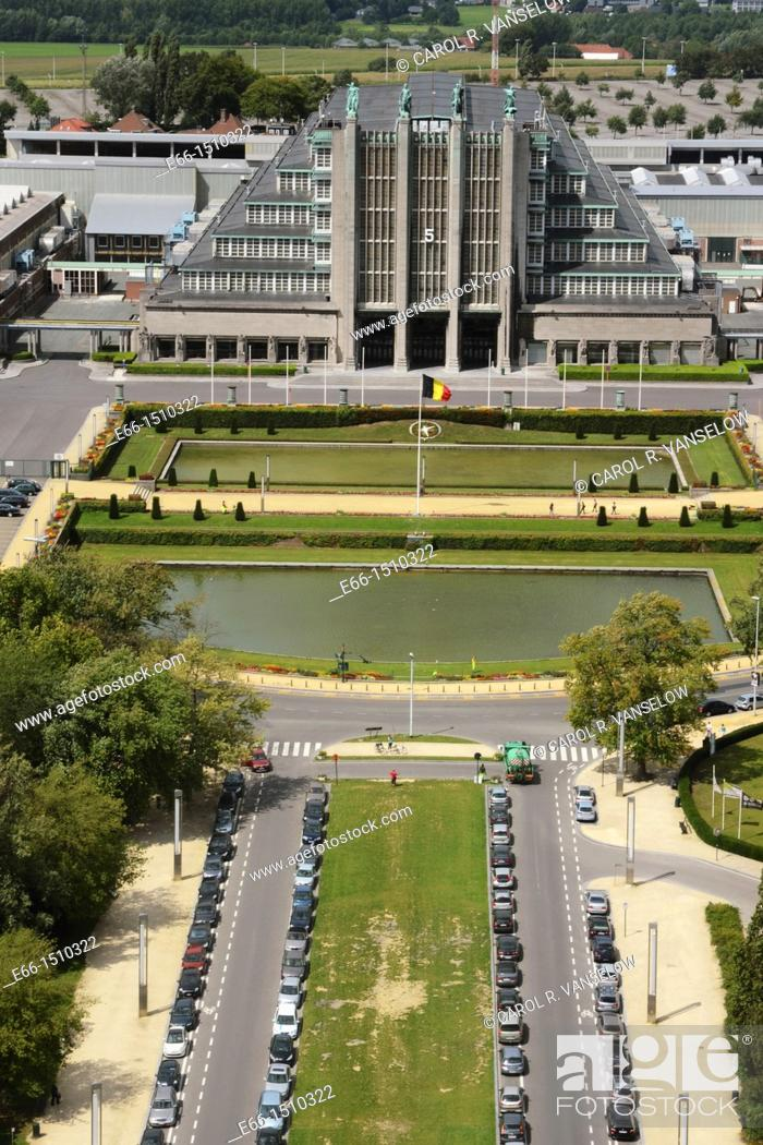 Stock Photo: Photo taken from inside the Atomium, showing the park surrounding the Atomium and Bruxelles Expo Hall 5.